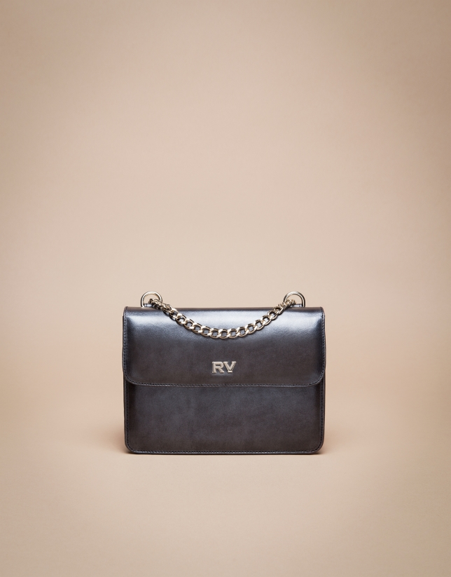 Mini shiny grey marengo Pompidou shoulder bag