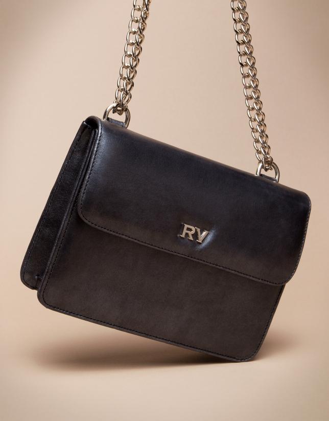 Mini shiny black Pompidou shoulder bag