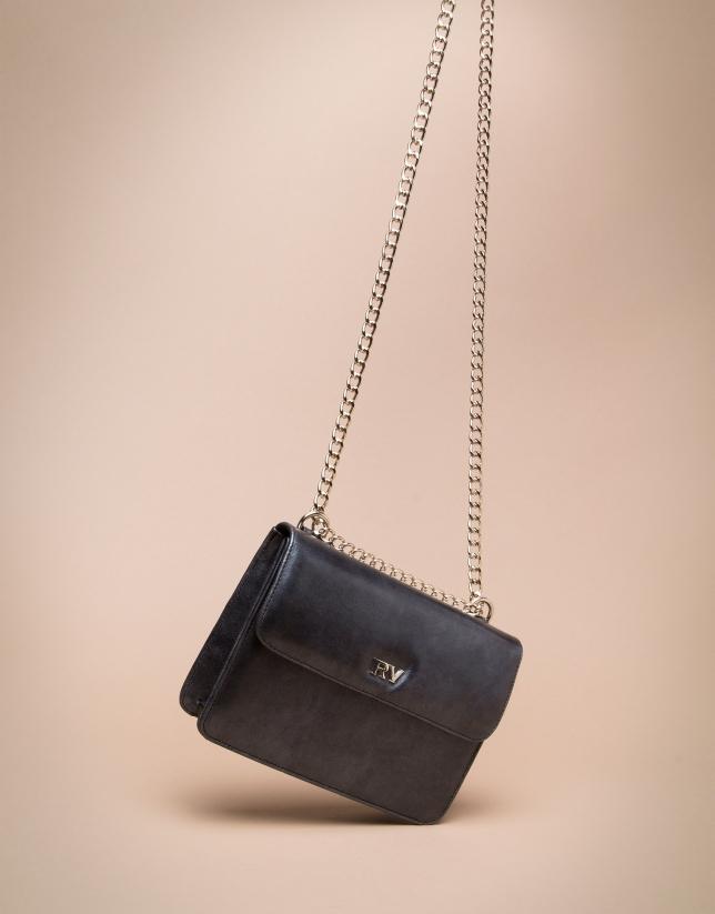 Bolso bandolera mini Pompidou negro brillo