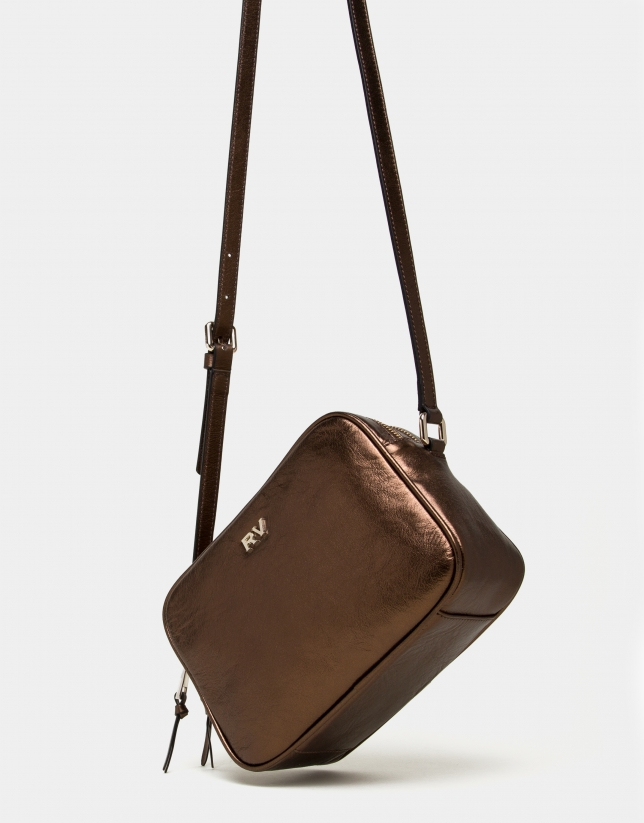 Copper laminated leather Taylor bag