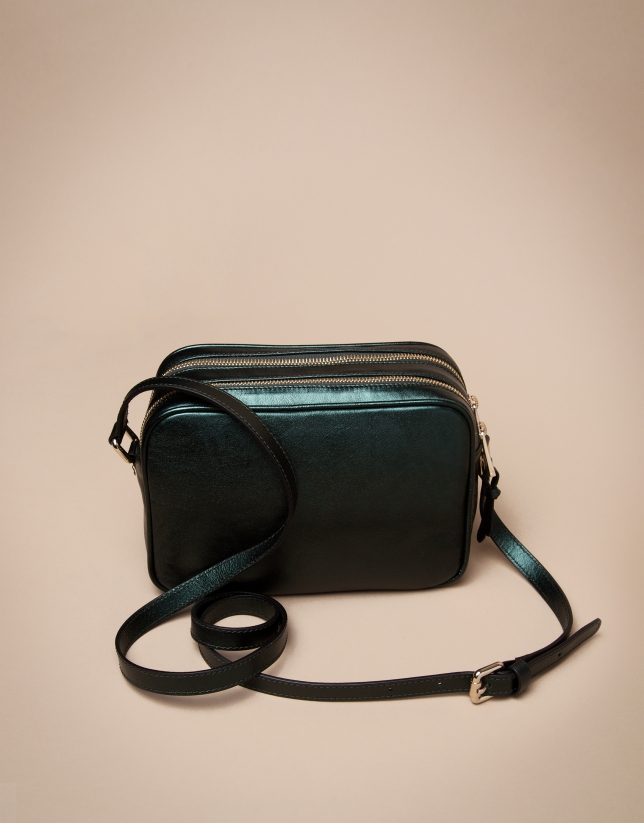 Green laminated leather Taylor bag