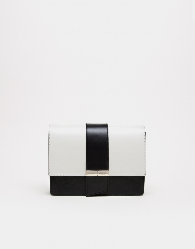 Black and white napa shoulder bag