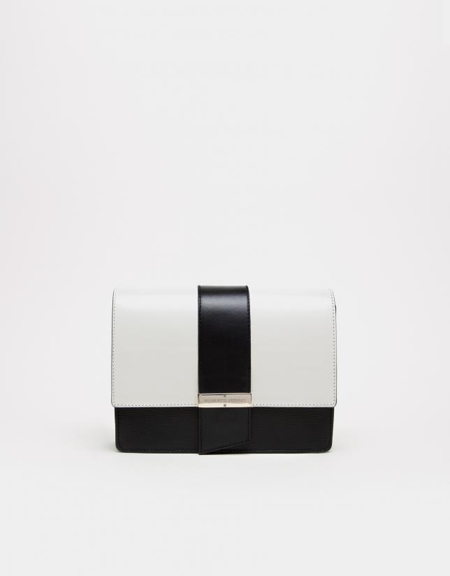 Bolso shoulder napa blanco y negro
