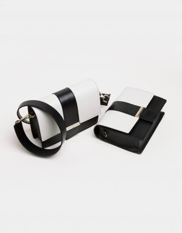 Black and white napa shoulder bag