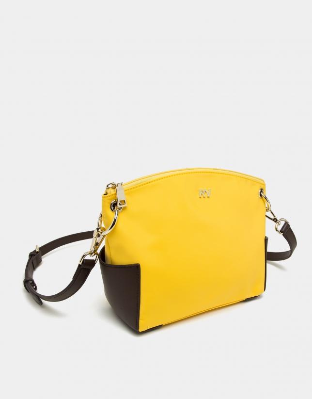 Yellow nylon shoulder bag