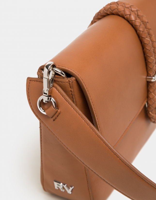 Bolso cartera Joyce color cuero cierre cordón