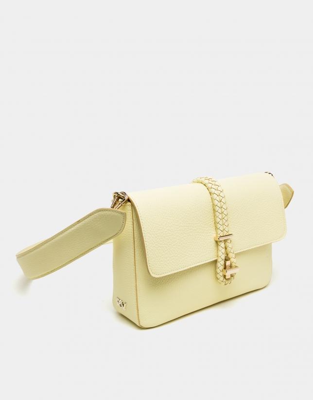 Bolso cartera Joyce amarilla cierre cordón