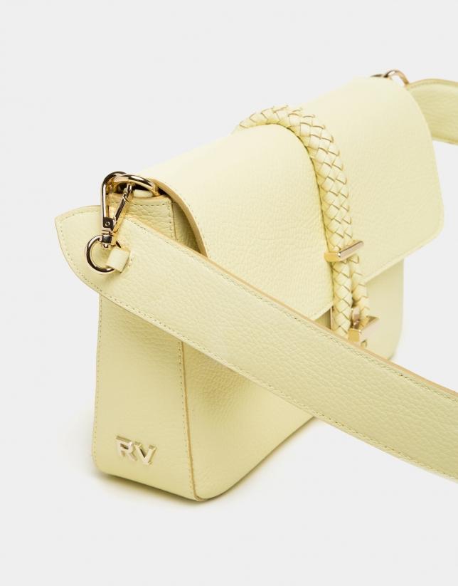 Yellow leather Joyce portfolio with tie