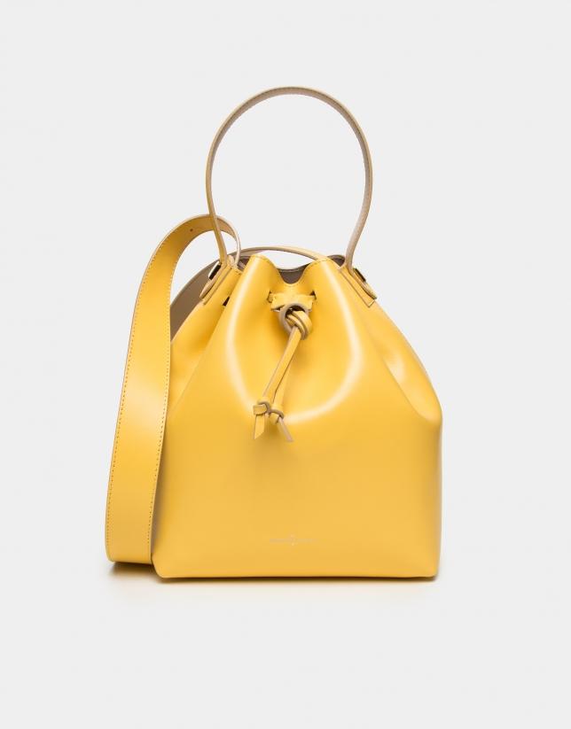sac bouquet en cuir jaune femme pe2018 roberto verino. Black Bedroom Furniture Sets. Home Design Ideas