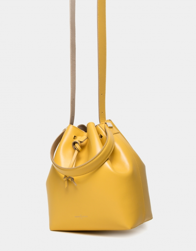 Sac Bouquet en cuir jaune