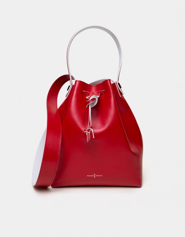 Sac Bouquet en cuir rouge