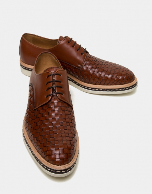Brown square embossed shoes