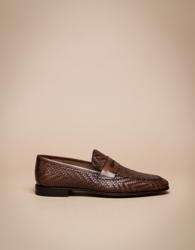 Mocassins imprimé chevron marron