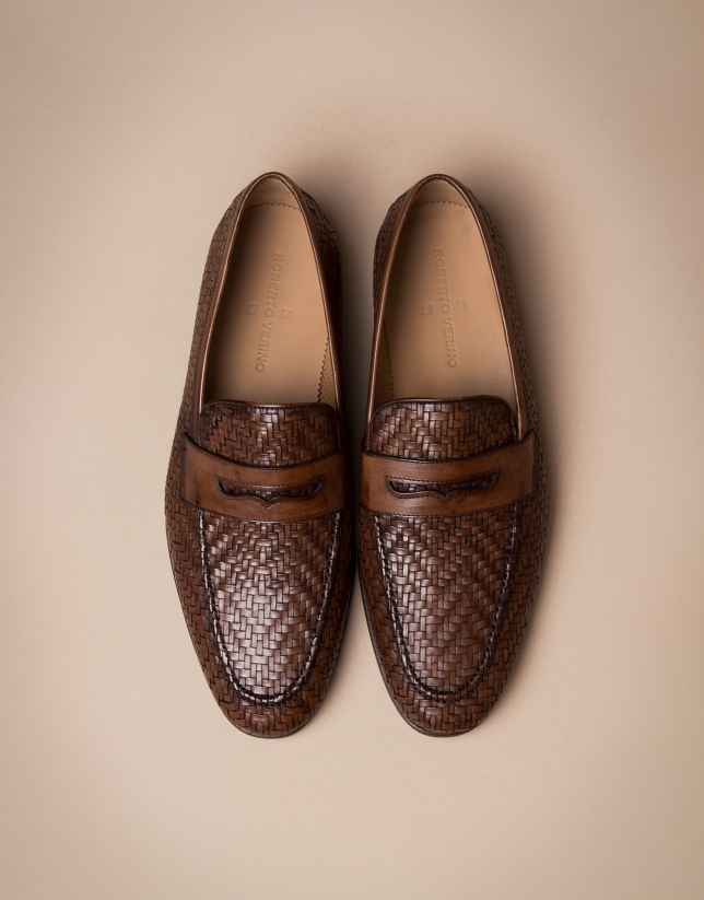 Brown herringbone embossed moccasins