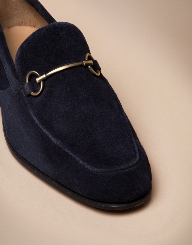 Blue leather moccasins with stirrup