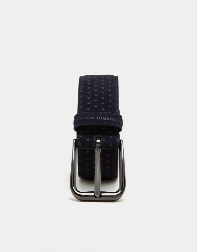 Navy blue leather belt with brown dots