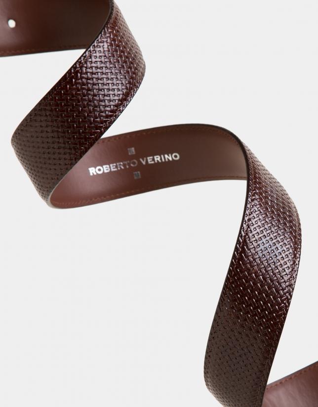 Cinturón piel grabado marrón