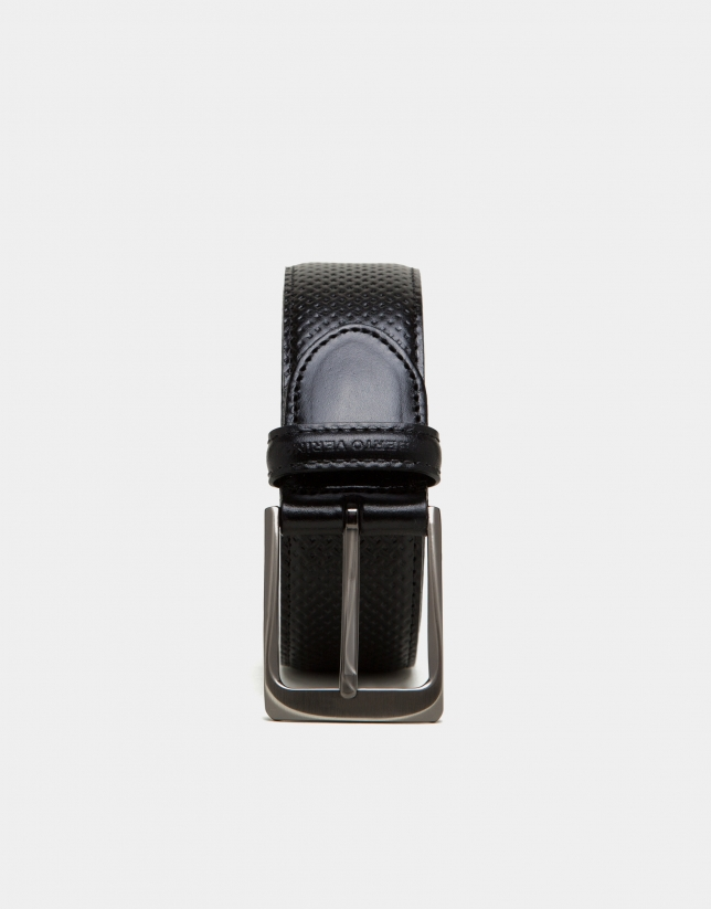 Black embossed leather belt
