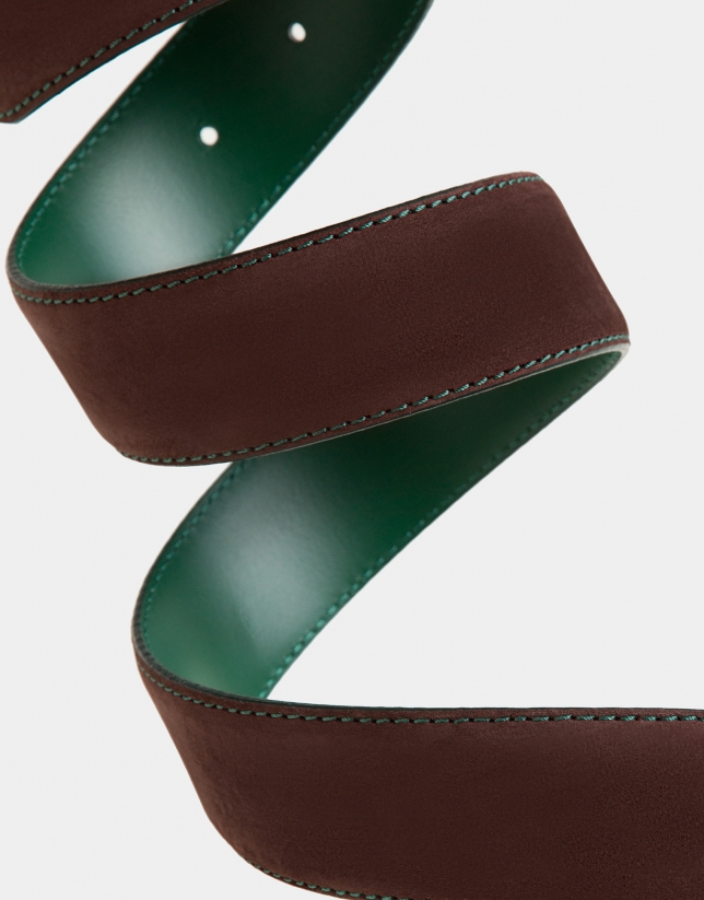 Brown suede belt with green backstitching