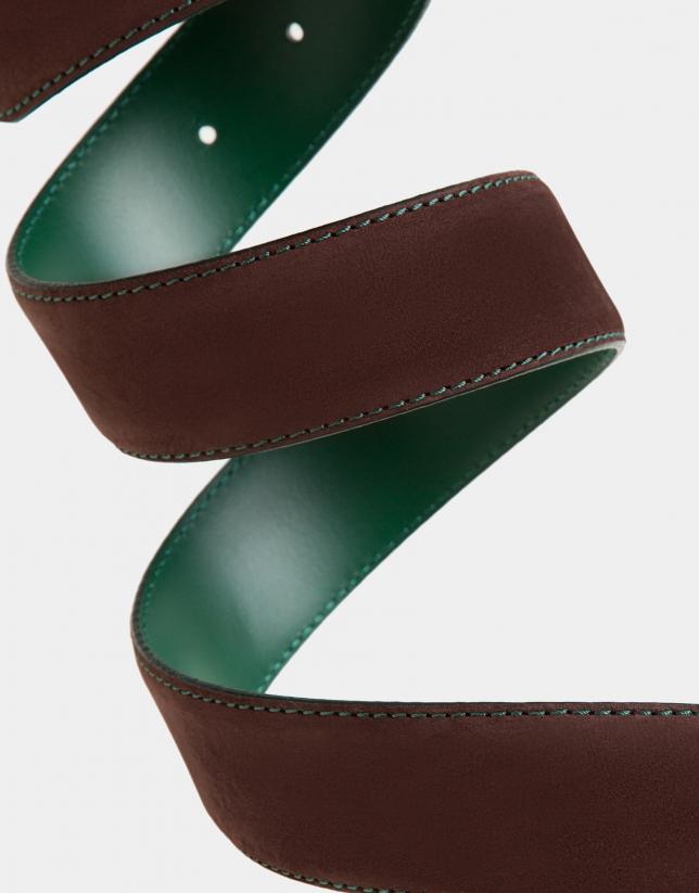 Cinturón ante marrón pespunte verde