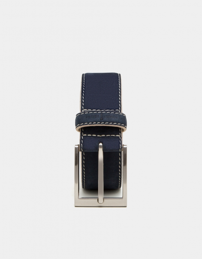 Navy blue suede belt with flax backstitching