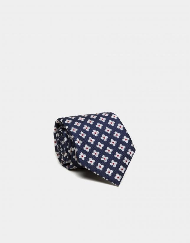Corbata seda azul marino margaritas blanco