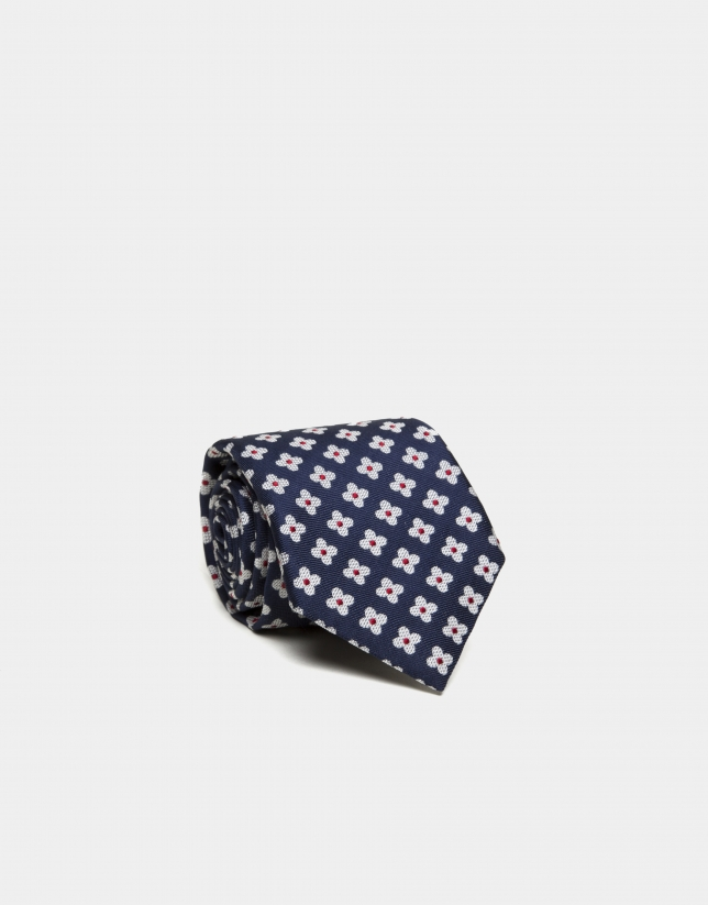 Navy blue silk tie with white daisies