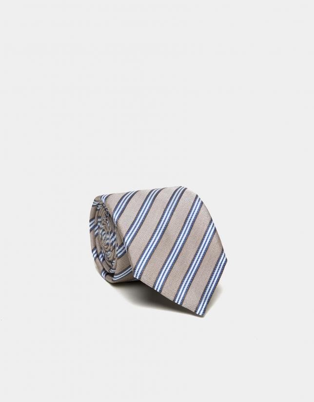 Corbata seda visón rayas azules