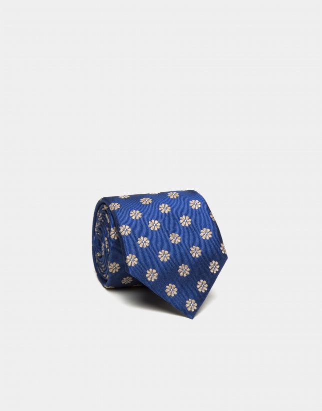 Blue silk tie with yellow daisies