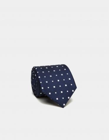 Cravate en soie bleu foncé à jacquard blanc
