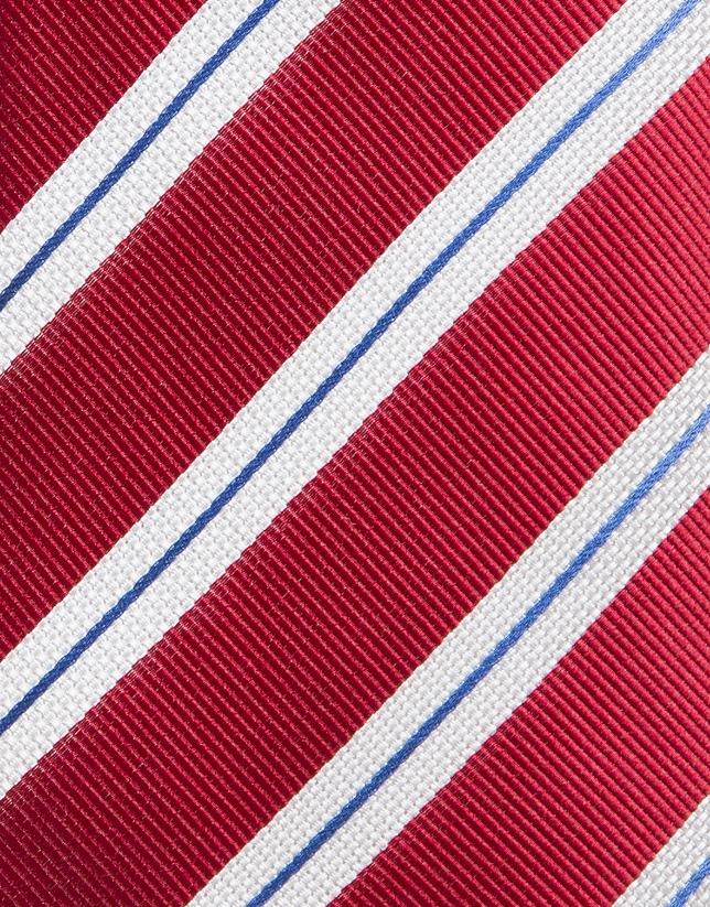 Cravate en soie rouge à rayures en blanc/bleu