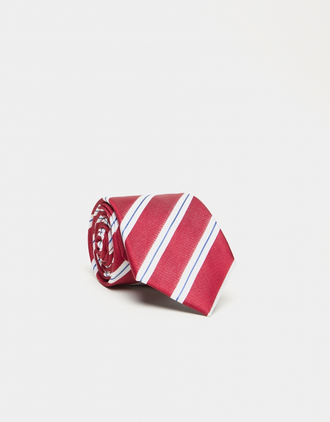 Red silk tie with white/blue stripes