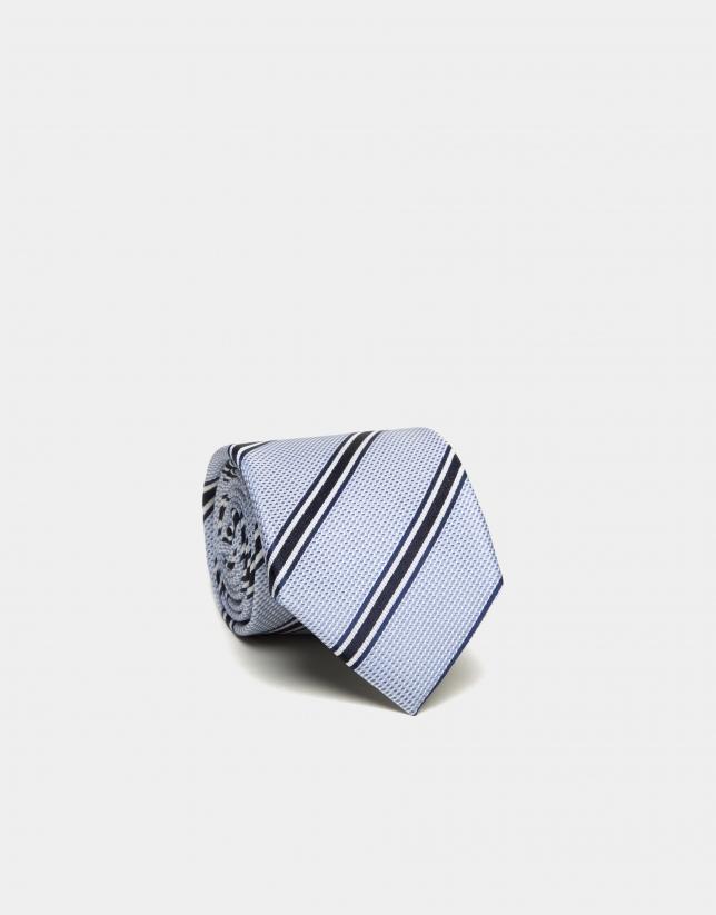 Corbata seda estructura celeste rayas marino/blanco