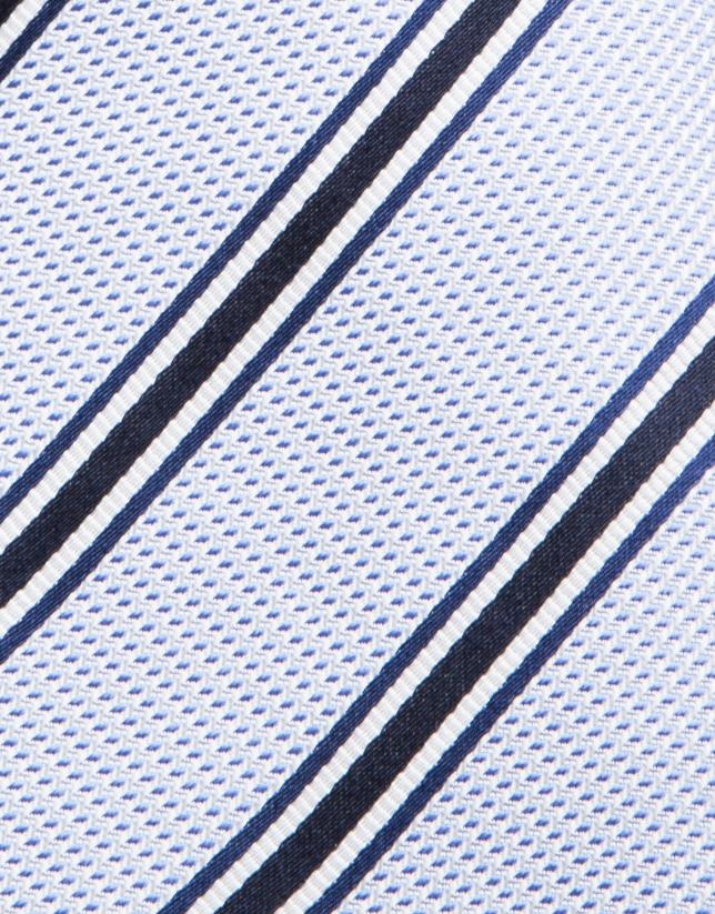 Cravate en soie structurée en bleu ciel et rayures en bleu marine/blanc