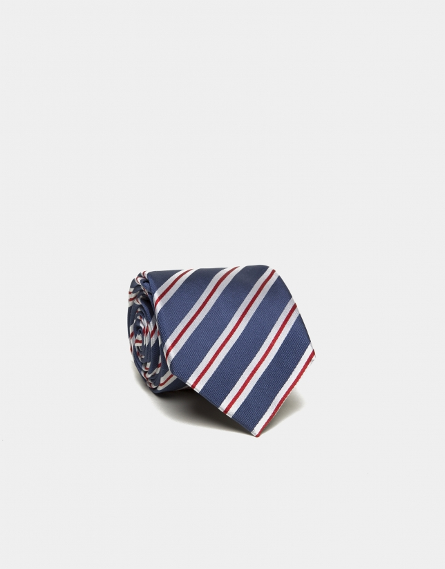 Blue silk tie with beige/red stripes