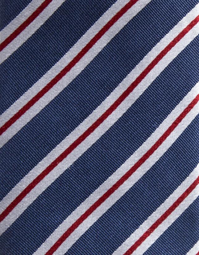 Cravate en soie bleu moyen à rayures en écru/rouge