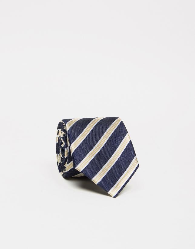 Corbata seda marino medio rayas blanco/amarillo