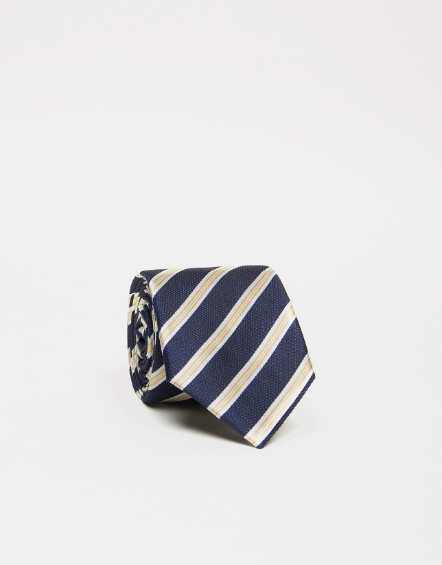 Navy blue silk tie with white/yellow stripes