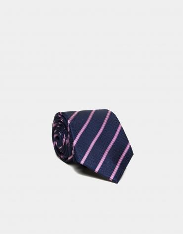 Corbata seda azul medio rayas rosa/crudo