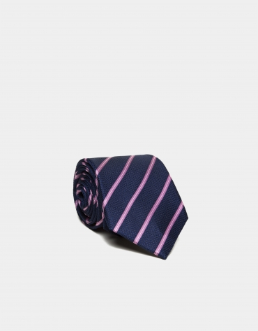 Cravate en soie bleu moyen à rayures en rose/écru