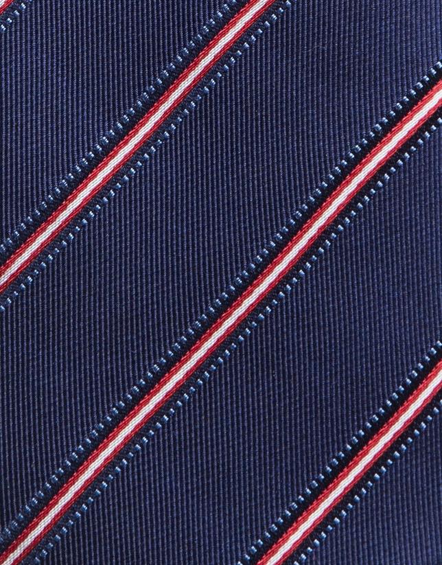 Blue silk tie with red/beige stripes