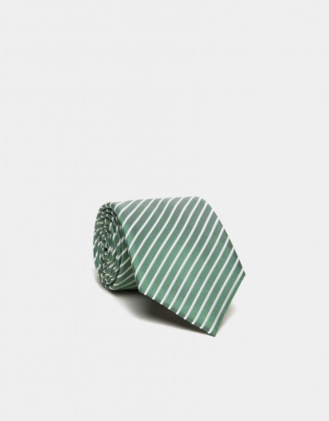 Cravate en soie verte à rayures blanches