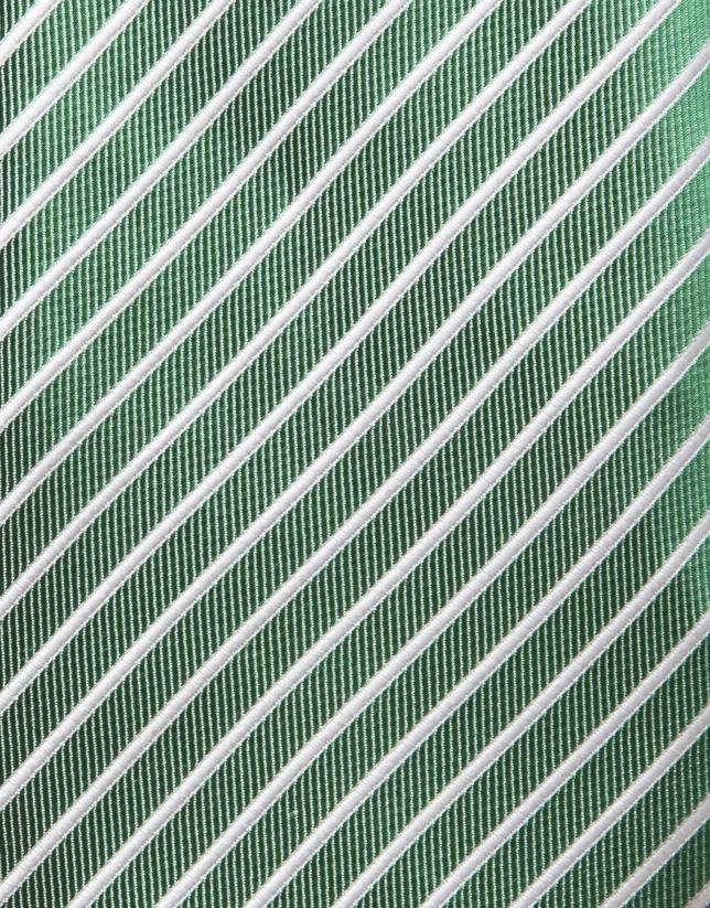 Corbata seda verde rayas blancas