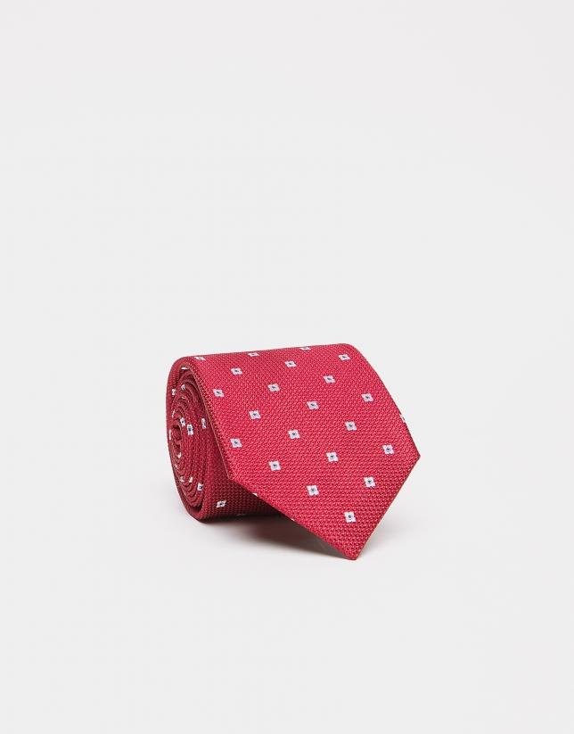 Red silk tie with beige flowers
