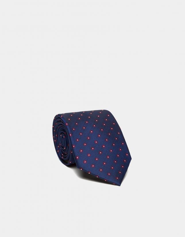 Cravate en soie bleu roi à jacquard de marguerites rouges