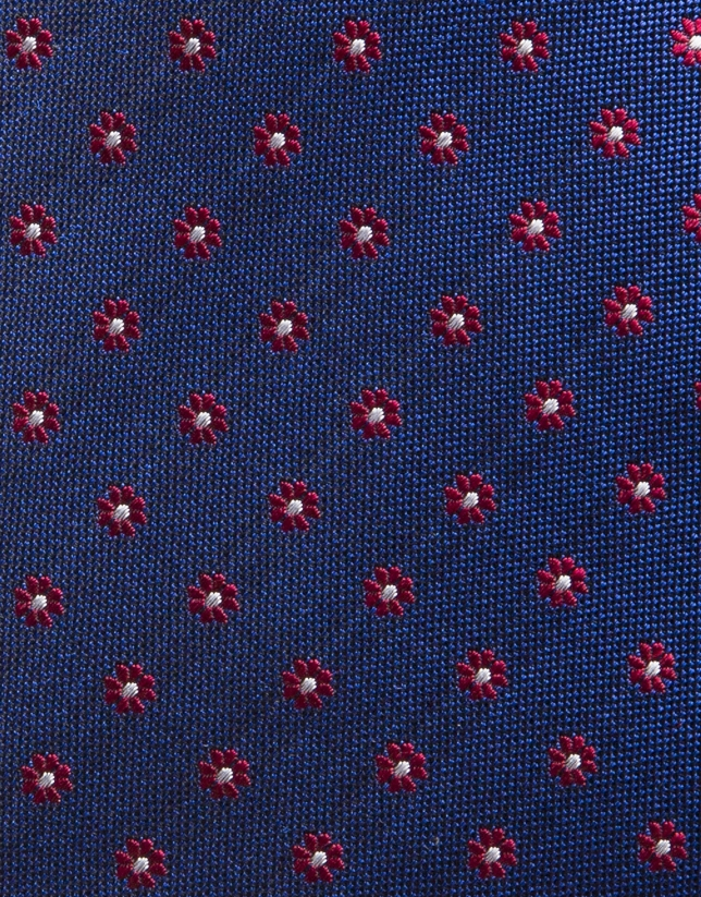 Blue silk tie with red jacquard daisies