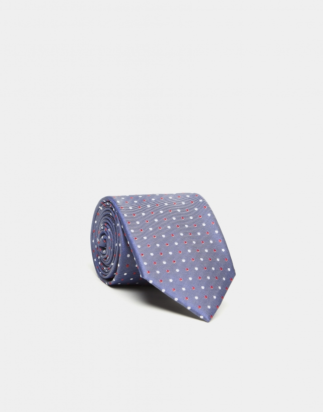 Blue silk tie with red/white dots