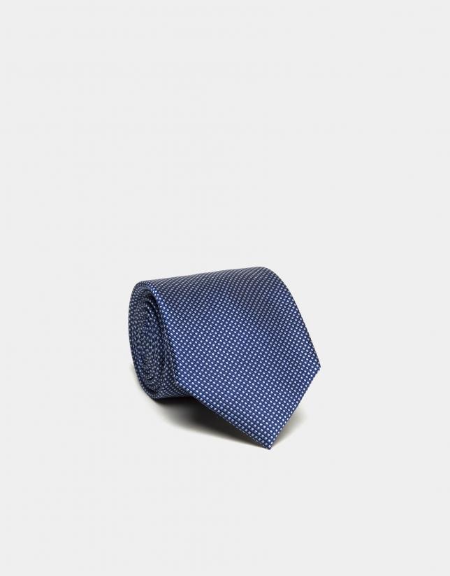 Corbata seda estructura azul/crudo