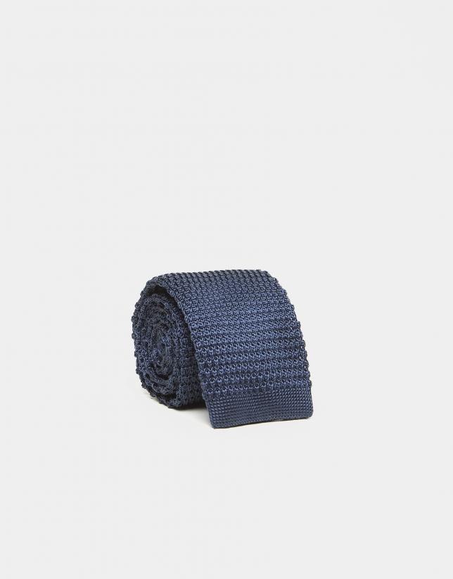 Cravate en lin/coton imprimée en bleu