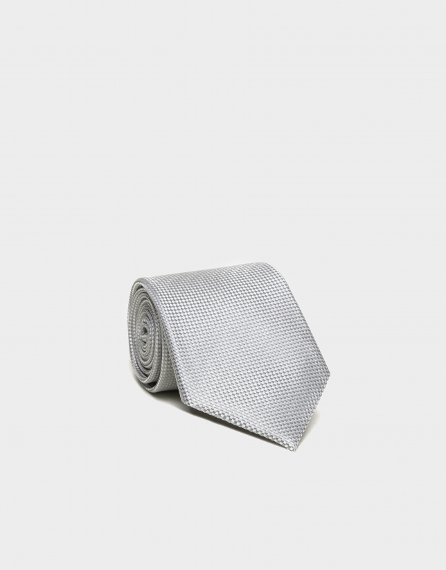 Pearl gray structured silk tie